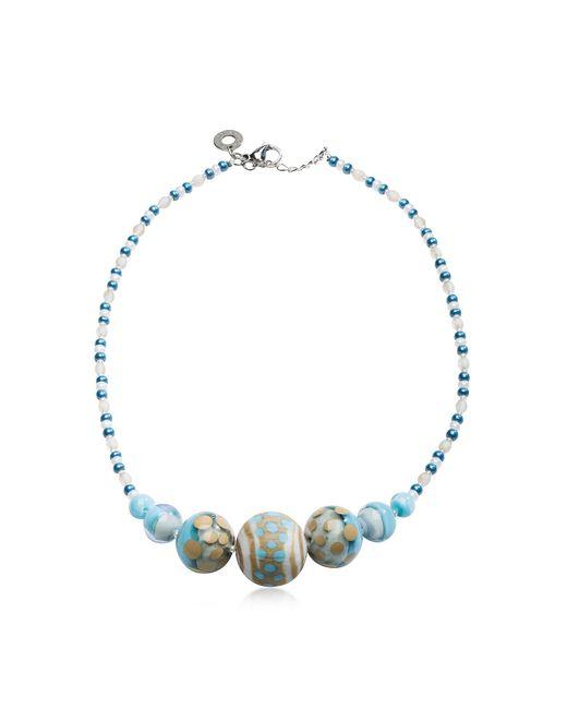 Antica Murrina - Papaya 2 Light Blue Pastel Murano Glass Choker - Lyst