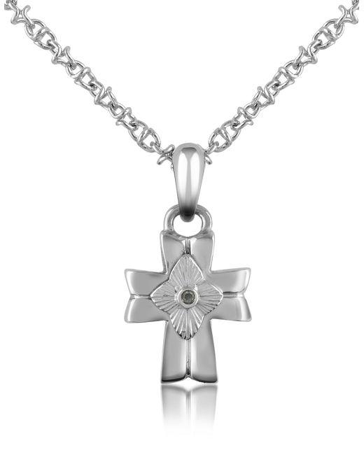 Forzieri | Metallic Diamond And Stainless Steel Cross Pendant Necklace | Lyst