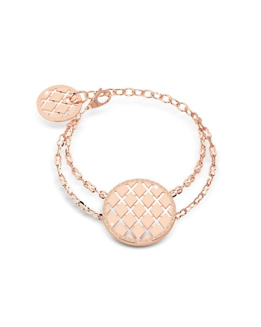 Rebecca - Pink Melrose Yellow Gold Over Bronze Bracelet W/round Charms - Lyst