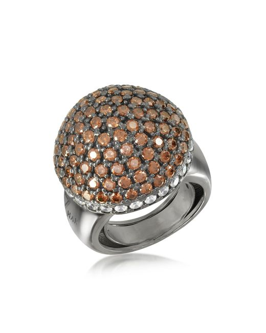 Azhar Brown Sterling Silver Cubic Zirconia Semi-sphere Cocktail Ring