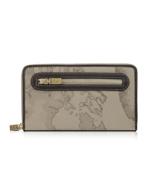 Alviero Martini 1A Classe Gray Geo Print Zip Around Wallet