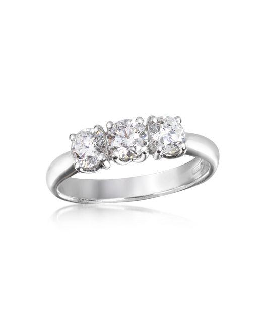 Forzieri - White 0.92 Ctw Diamond Three-stone 18k Gold Ring - Lyst