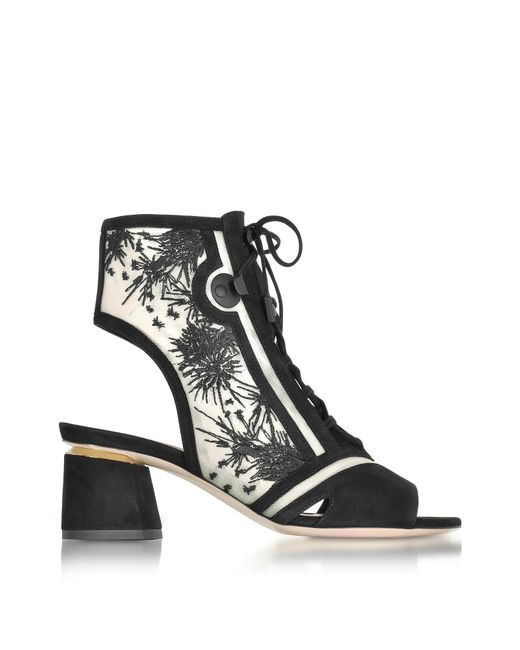 Black Granny Lace Up Black Shoes Block Heel