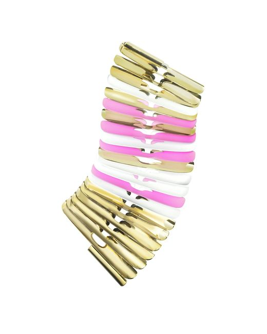 Pluma | Metallic Gold White And Pink Fishbone Bangle | Lyst