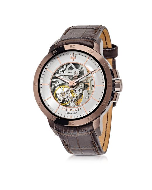 Maserati - Ingegno Brown Stainless Steel Case And Embossed Leather Strap Men's Watch for Men - Lyst