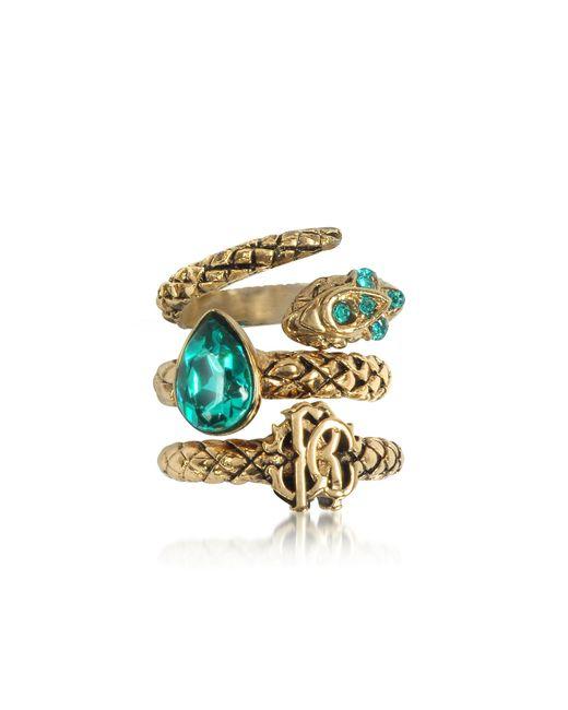 Roberto Cavalli - Metallic Goldtone Metal Triple Ring W/blue Crystals - Lyst
