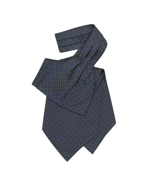 Forzieri - Blue Mini Daisy Print Silk Ascot for Men - Lyst