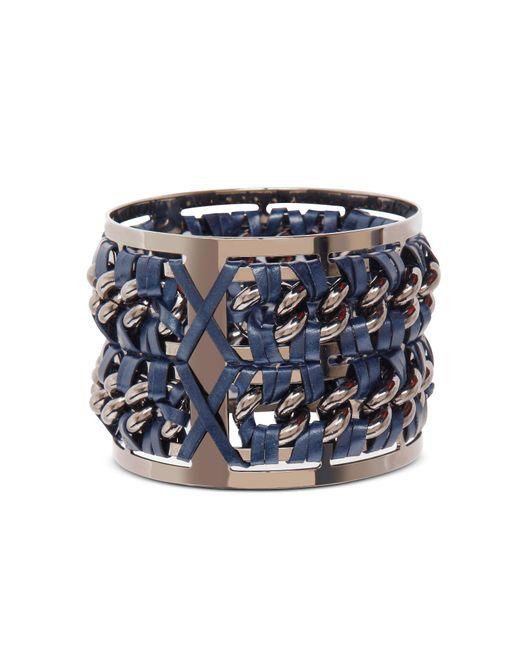 Pluma - Metallic Gunmetal Brass And Navy Blue Leather Large Bangle In Fumoso - Lyst