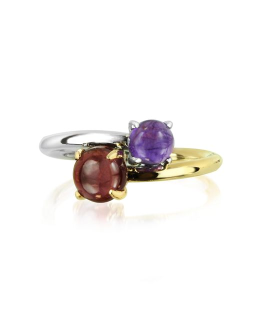 Mia & Beverly - Purple Amethyst And Garnet 18k White & Yellow Gold - Lyst