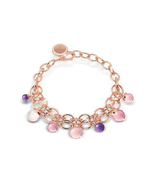 Rebecca - Multicolor Hollywood Stone Rose Gold Over Bronze Chains Bracelet W/hidrothermal Stones - Lyst