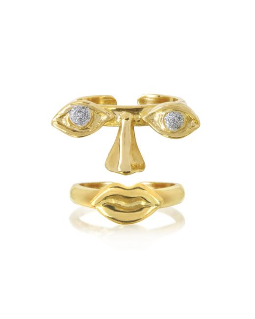 Bernard Delettrez - Metallic Face 9k Gold Midi Ring Two Pieces W/eyes/nose And Mouth - Lyst