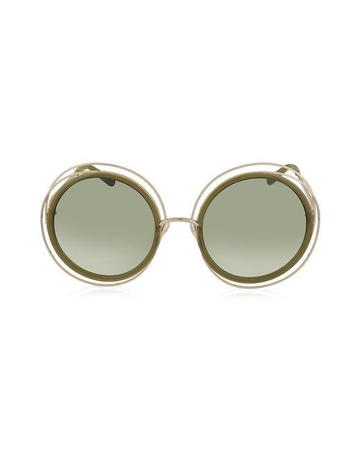 Chloé | Green Carlina Ce 120s Round Oversized Acetate & Metal Women's Sunglasses | Lyst
