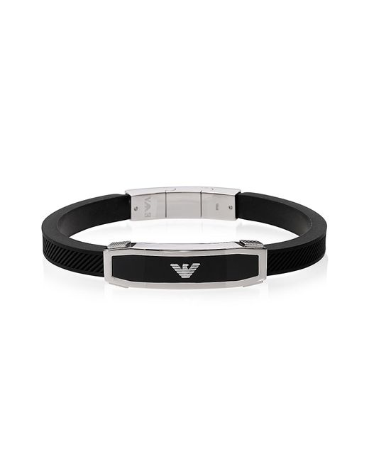 Emporio Armani - Stainless Steel And Black Rubber Men's Bracelet for Men - Lyst