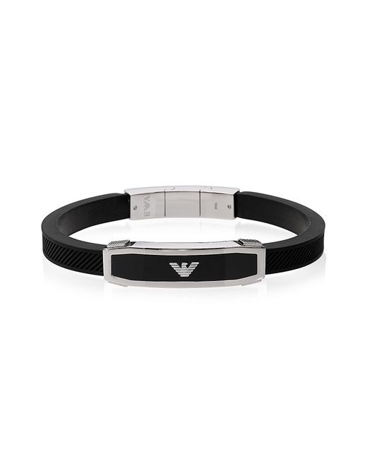 Emporio Armani | Stainless Steel And Black Rubber Men's Bracelet for Men | Lyst