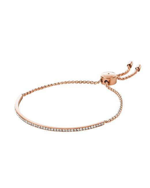 Michael Kors | Metallic Brilliance Rose Gold Tone Metal Bracelet W/crystals | Lyst