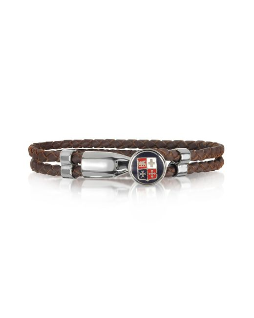Forzieri - Blue Navy Maritime Republics Metal And Leather Men's Bracelet for Men - Lyst