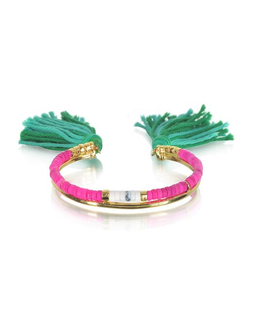Aurelie Bidermann - 18k Gold-plated & Pink Tinted Howlite And White Bamboo Beads Sioux Bracelet W/emerald Cotton Tassels - Lyst
