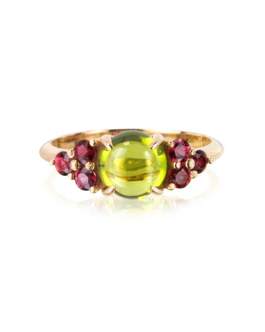Mia & Beverly Metallic Red Sapphires And Peridot 18k Rose Gold Ring