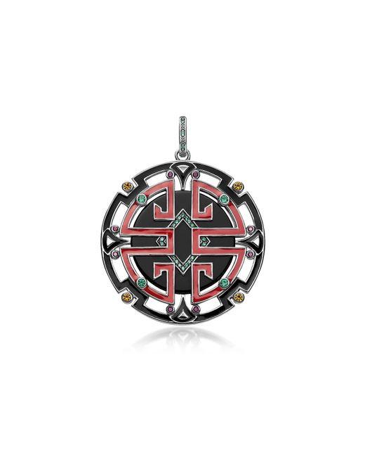 Thomas Sabo - Metallic Blackened Sterling Silver Enamel And Glass-ceramic Stones Asian Ornaments Pendant - Lyst