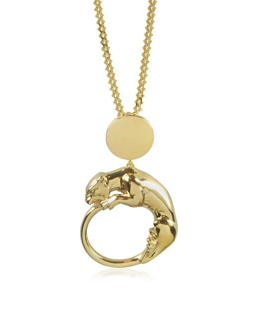 Roberto Cavalli | Metallic Panther Light Gold Tone Metal Pendant | Lyst