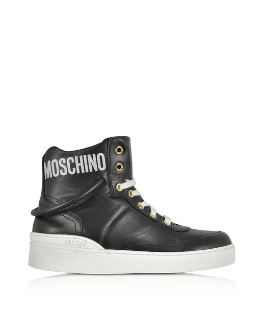 Moschino | Black Nappa Leather High Top Sneakers for Men | Lyst