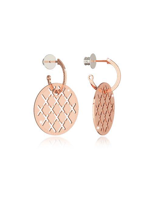 Rebecca | Pink Melrose Rose Gold Over Bronze Drop Hoop Earrings | Lyst