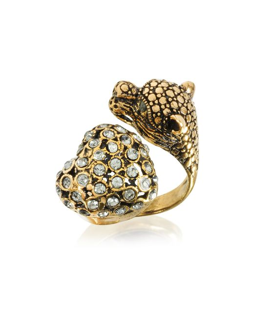 Alcozer & J - Metallic Panther And Heart Brass Ring - Lyst