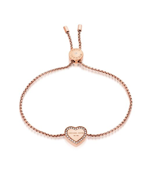 Michael Kors | Pink Heritage Pvd Rose Goldtone Stainless Heart Bracelet W/crystals | Lyst