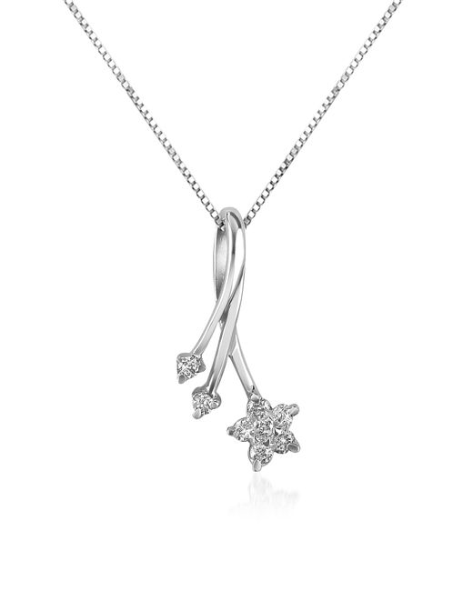 Forzieri | Metallic 0.125 Ct Diamond Flower 18k Gold Pendant Necklace | Lyst