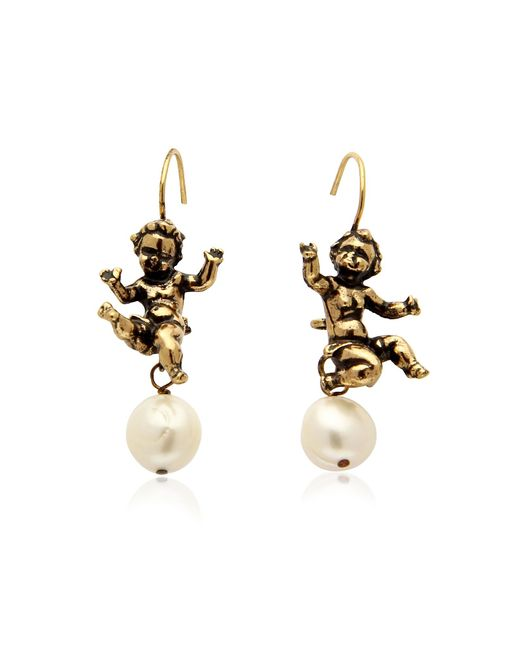 Alcozer & J - Metallic Naughty Children Gold Plated Brass And Glass Pearl Earrings - Lyst