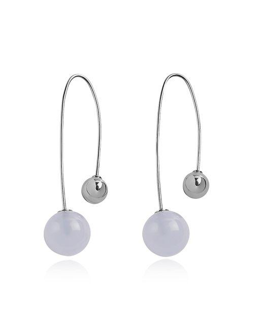 Skagen - Metallic Sea Glass Two-bead Stainless Steel Long Earrings - Lyst