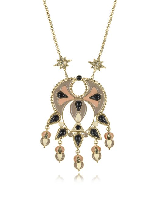 Roberto Cavalli - Metallic Gold-tone And Enamel W/multicolor Crystals Long Necklace - Lyst
