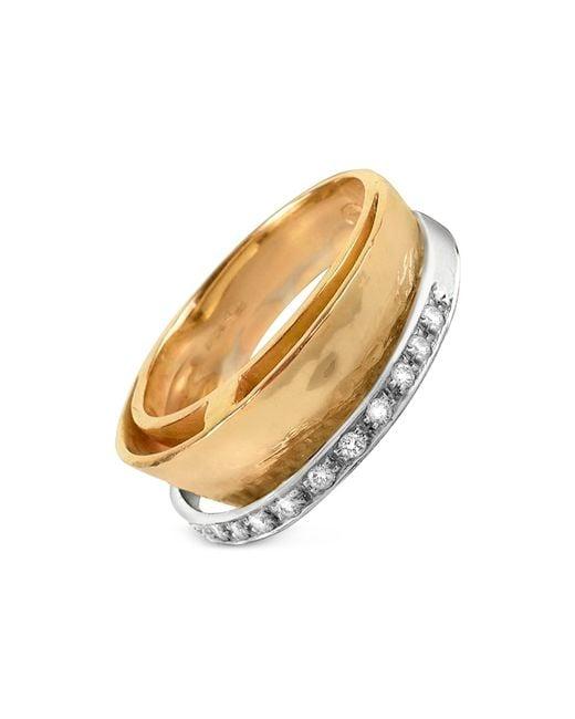 Torrini - Metallic Tama - Diamond Channel 18k Yellow Gold Band Ring - Lyst