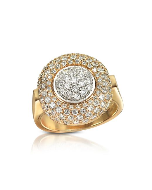 Forzieri - Metallic 1.49 Ct Diamond Pave 18k Gold Ring - Lyst