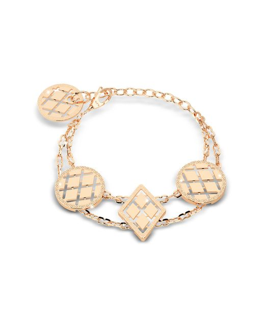 Rebecca - Metallic Melrose Yellow Gold Over Bronze Bracelet W/geometric Charms - Lyst