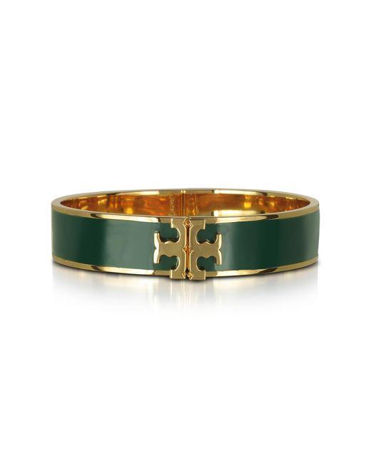 Tory Burch - Raised Logo Banyan Green Enamel Thin Cuff Bracelet - Lyst