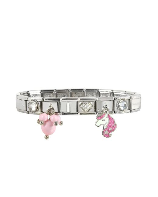 Nomination Metallic Pink Unicorn Sterling Silver & Stainless Steel Bracelet