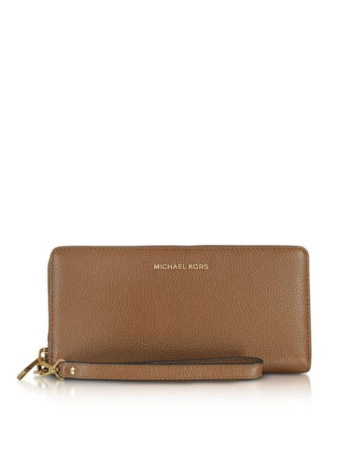 Michael Kors   Brown Mercer Large Luggage Pebble Leather Continental Wallet   Lyst