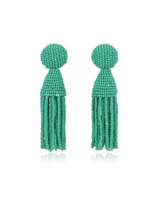 Oscar de la Renta | Green Short Beaded Clip-on Tassel Earrings | Lyst