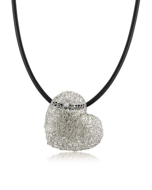 Orlando Orlandini - Metallic Woven White Gold Heart Pendant Necklace W/diamond - Lyst