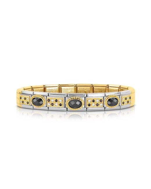 Nomination | Metallic Classic Pavés Golden Stainless Steel Bracelet W/black Stone And Cubic Zirconia | Lyst