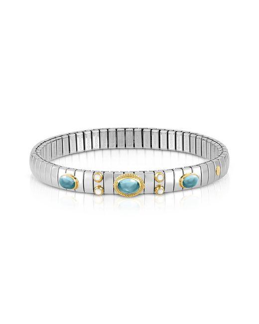 Nomination Metallic Stainless Steel Women's Bracelet w/Light Blue Topaz Oval Beads