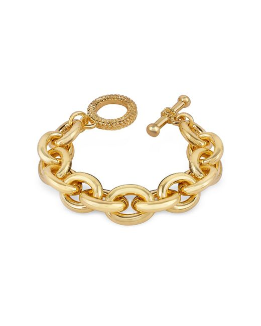 AZ Collection Metallic Gold Plated Chain Toggle Bracelet