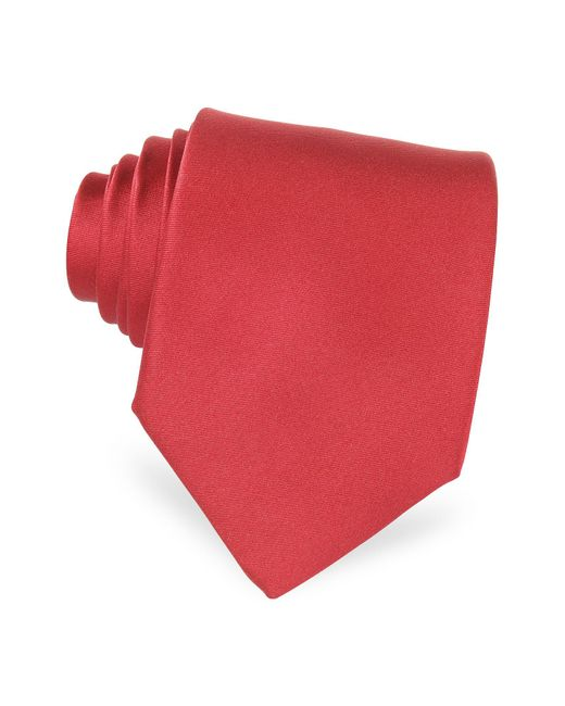 Forzieri - Red Solid Silk Tie for Men - Lyst