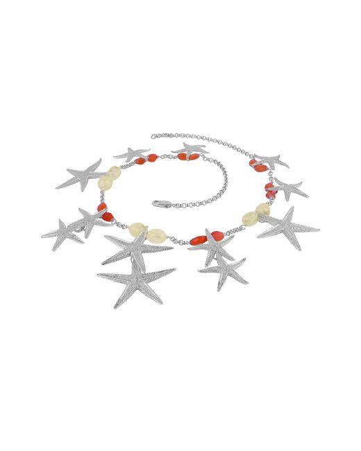 Forzieri - Metallic Starfish Pendants Sterling Silver Gemstones Necklace - Lyst