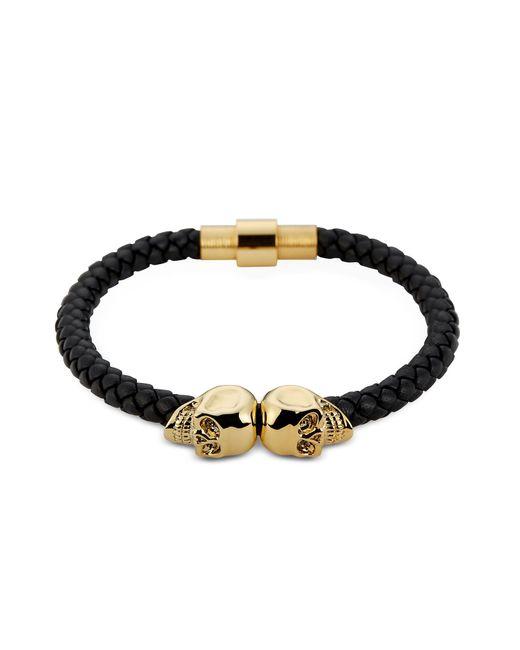 Northskull - Black Nappa Leather And 18 Kt. Gold Twin Skull Men's Bracelet for Men - Lyst
