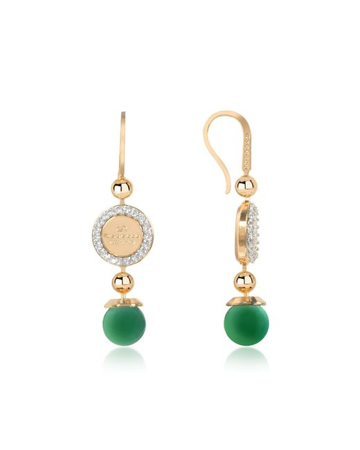 Rebecca - Boulevard Stone Yellow Gold Over Bronze Dangle Earrings W/green Hydrothermal Stone - Lyst