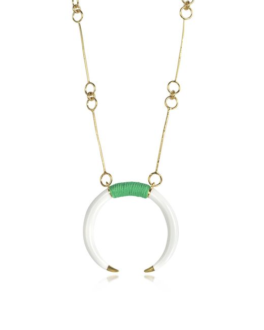 Aurelie Bidermann - Metallic 18k Gold-plated Brass And White Resin Horn Pendant Necklace - Lyst