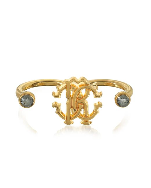 Roberto Cavalli - Metallic Goldtone Metal Two Fingers Ring - Lyst