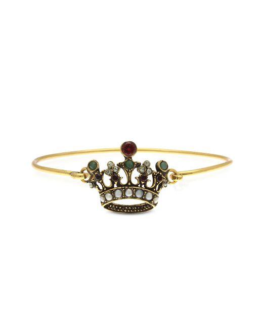Alcozer & J   Metallic Princess Goldtone Brass Bangle W/crown   Lyst